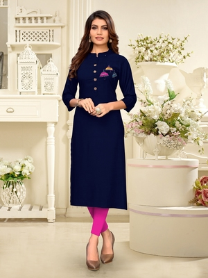Navy-blue hand woven rayon party-wear-kurtis