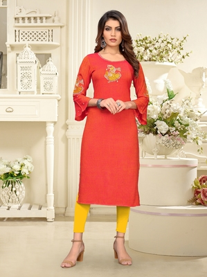 Orange embroidered rayon party-wear-kurtis