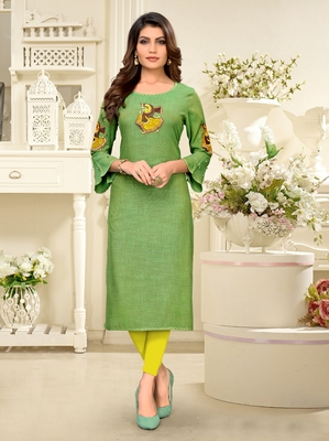 Green embroidered rayon party-wear-kurtis