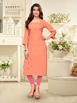 Peach embroidered rayon party-wear-kurtis