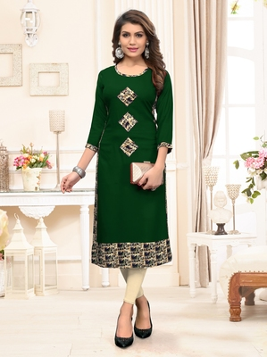 Green printed rayon party-wear-kurtis