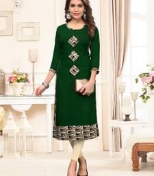Green printed rayon party-wear-kurtis