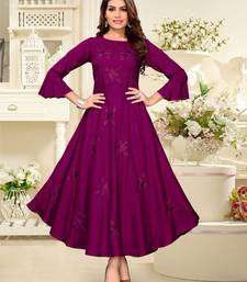 Purple embroidered rayon party-wear-kurtis