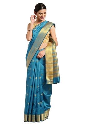Blissta Women's Blue Cotton Woven Saree With Jacquard Work & Designer Pallu