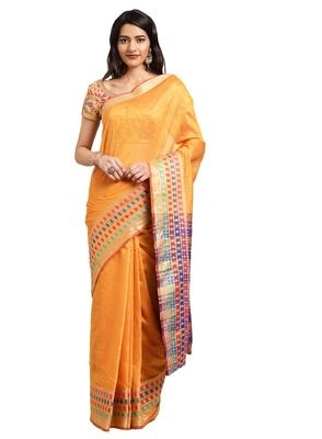 Blissta Women's Yellow Jacquard Cotton Silk Saree With Designer Pallu