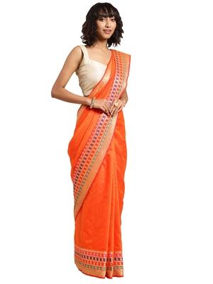 Blissta Women's Orange Jacquard Cotton Silk Saree With Designer Pallu