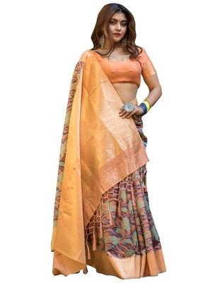Multicolor Embroidered Banarasi Silk Saree With Blouse