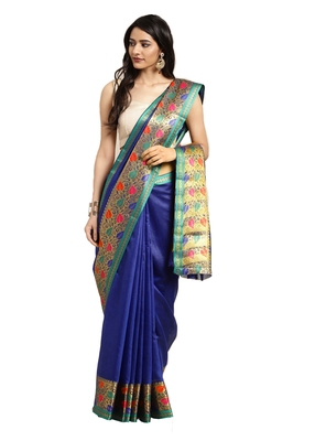 Blissta Women's Blue Jacquard Cotton Silk Saree With Designer Pallu