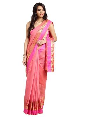 Blissta Women's Light Pink Jacquard Cotton Silk Saree With Designer Pallu