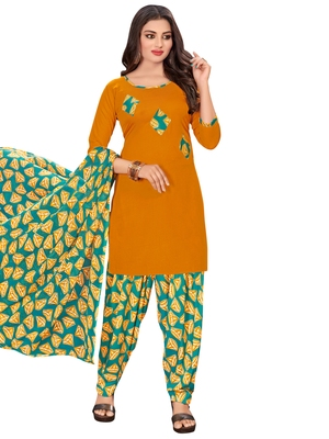 Yellow printed crepe salwar