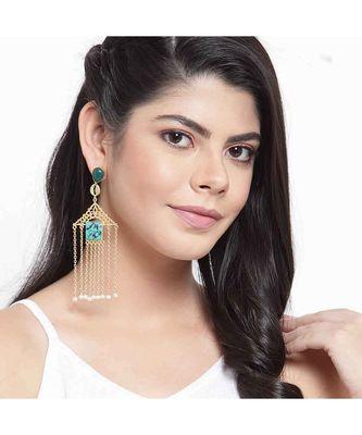 Avika Leafy Pink Golden Chained Tassel Earrings