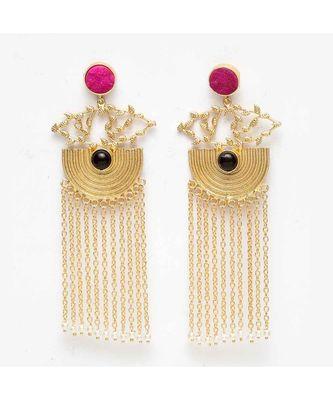 Adhrita Pink-Black Stone Pearl Chained Tassel Earrings