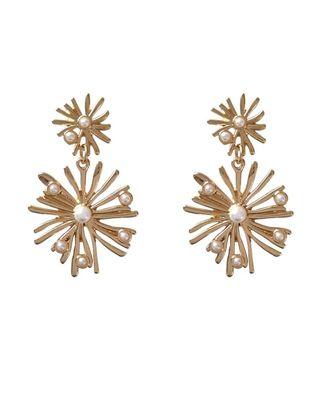Astrid Pearl Golden Drop Earrings
