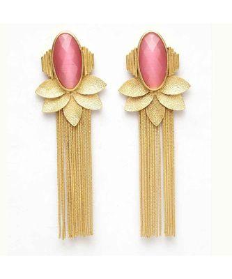 Dhriya Pink Leafy Golden Tassel Drop Earrings