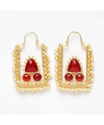 Hridika Rectangular Faux Pearl Golden Earrings