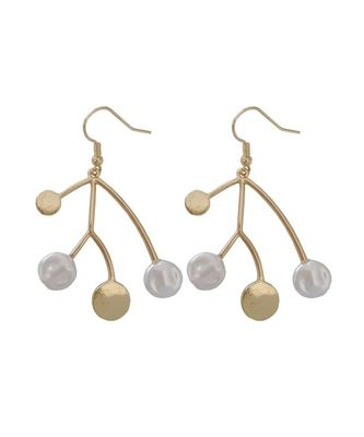 Thyra Golden White Branch Drop Earrings