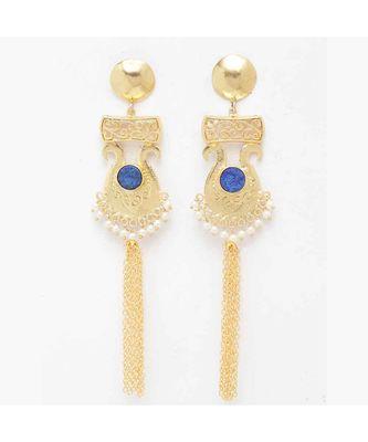 Vamika Royal Blue Stone Golden Pearl Tassel Earrings