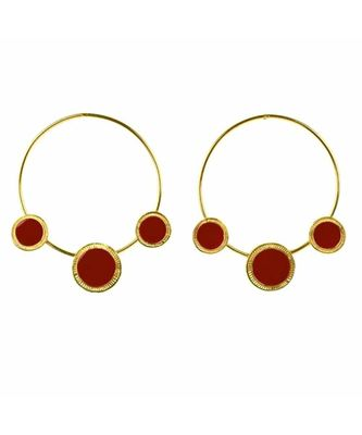 Wondrous Golden Red Charm Hoop Earrings