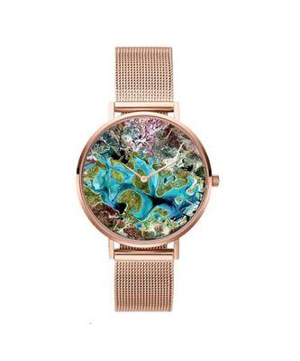 Earth Graffiti Rose Gold Strappy Watch