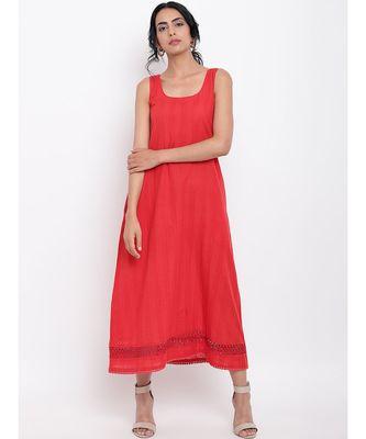 Red Hem Lace Dress