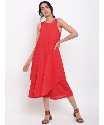 Red Panelled Kurta-Pant