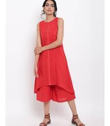 Red Center Lace Kurta-Pant