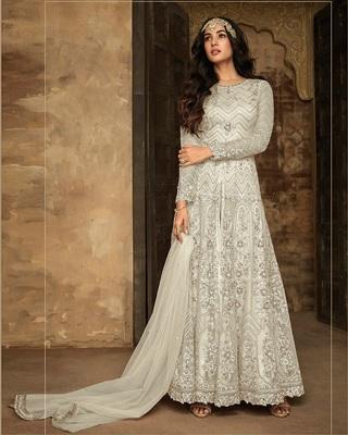 Off White Heavy Net Designer Anarkali Suit