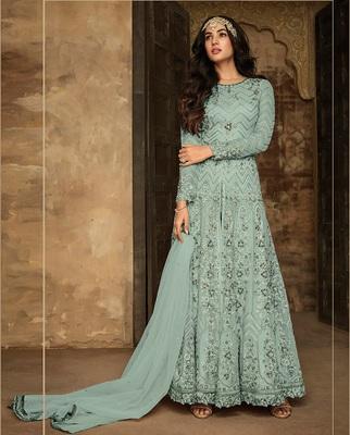 Sea Green Heavy Net Designer Anarkali Suit