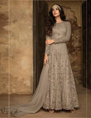 Light Silver Heavy Net Designer Anarkali Suit