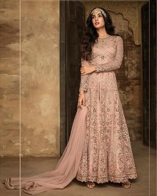 Peach Heavy Net Designer Anarkali Suit