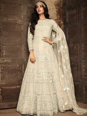 Beige Heavy Net Designer Anarkali Suit