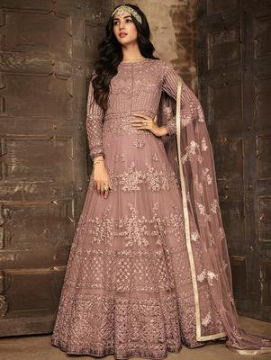 Light Brown Heavy Net Designer Anarkali Suit