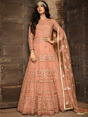 Peach Heavy Net Designer Anarkali Suit