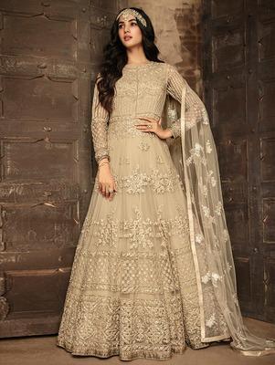 Light Golden Heavy Net Designer Anarkali Suit