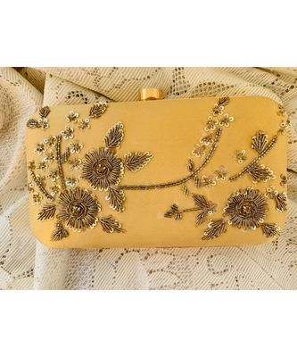 Gold Zardosi Handwork Box Clutch