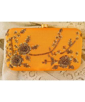 yellow Zardosi Handwork Box Clutch