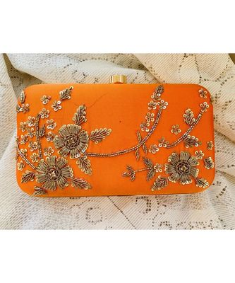 Orange Zardosi Handwork Box Clutch