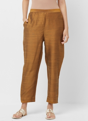 Women's Solid Yellow Casual Pants