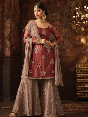 Maroon Heavy Net Designer Sharara Suit