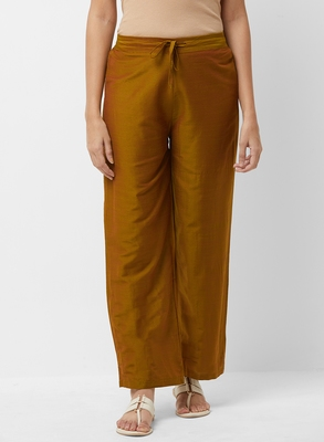 Women's Solid Brown Casual Pants
