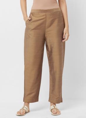 Women's Solid Beige Casual Pants