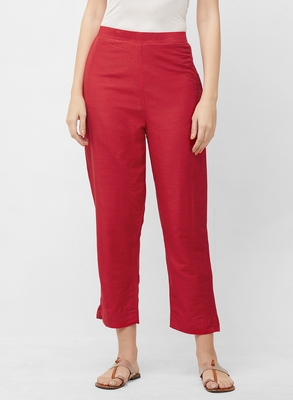 Women's Solid Red Casual Pants