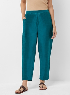 Women's Solid Blue Casual Pants
