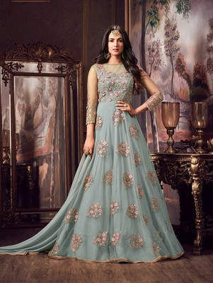 Turquoise Embroidered Flair Anarkali Suit