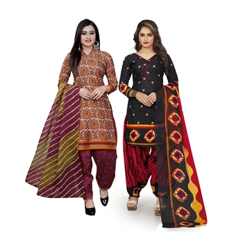 Multicolor printed blended cotton salwar