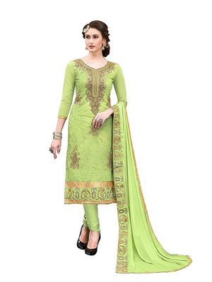 Woman Green Chanderi Handwork Design Party wear Salwar suit Kameez dress material