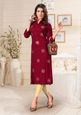 Maroon woven rayon party-wear-kurtis