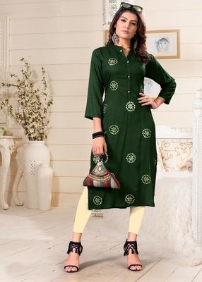 Green woven rayon party-wear-kurtis