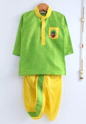 Green plain dupion boys-dhoti-kurta