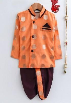 Orange woven chanderi boys-dhoti-kurta